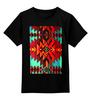 """Детская футболка классическая унисекс """"Индеец"""" - красный, орнамент, зеленый, индейский ковер"""