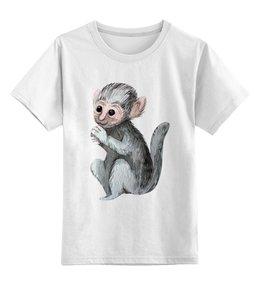 """Детская футболка классическая унисекс """"Фото с обезьянкой"""" - белая, детская, обезьянка, обезьяна"""