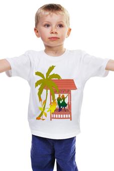 """Детская футболка классическая унисекс """"Пальма возле беседки."""" - цветок, пальма, пара, беседка, веранда"""