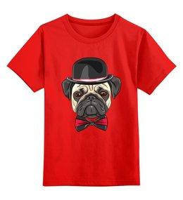 """Детская футболка классическая унисекс """"Мопс."""" - собака, бабочка, dog, pug, мопс"""