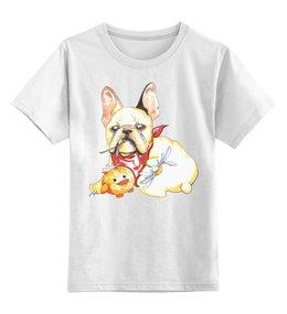 """Детская футболка классическая унисекс """"Бульдожка"""" - животные, бульдог, собака"""