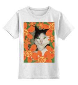 """Детская футболка классическая унисекс """"Зеленоглазая."""" - кошка, цветы, цветок, счастье, котэ"""