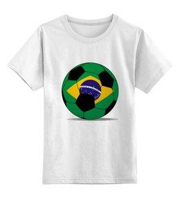 """Детская футболка классическая унисекс """"Футбол Бразилия"""" - футбол, мяч, бразилия, футбольный мяч"""
