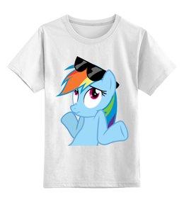"Детская футболка классическая унисекс ""Rainbow Dash"" - радуга, очки, дружба, pony, rainbow dash, mlp, my little pony, пони, dash, fim"