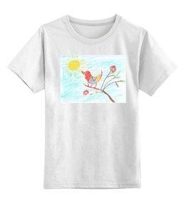 """Детская футболка классическая унисекс """"Весёлая птичка"""" - весёлая, птичка, live, fine, рузолото"""