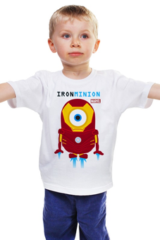 """Детская футболка """"Minion IRON MAN  (Миньон - Железный человек)"""" - прикольно, арт, авторские майки, футболка, стиль, рисунок, в подарок, marvel, детская футболка, iron man"""