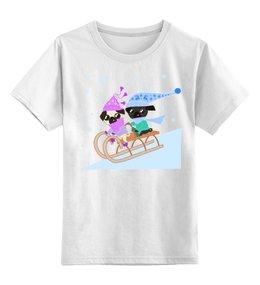 """Детская футболка классическая унисекс """"Мопсы катаются на санках"""" - юмор, новый год, зима, мопс, зимние игры"""