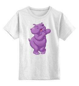 """Детская футболка классическая унисекс """"Счастливый бегемотик"""" - бегемот, улыбка, радость"""