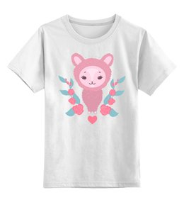 """Детская футболка классическая унисекс """"Милый мультяшный очаровательный альпака, лама (1)"""" - лошадь, красивый, сказка, иллюстрация, мульт"""