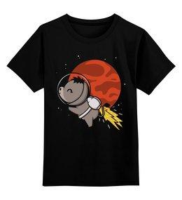 """Детская футболка классическая унисекс """"Ослик в космосе"""" - ослик, марс, космос, космонавт"""