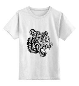 """Детская футболка классическая унисекс """"Тигр"""" - для мальчиков, blue and cool"""