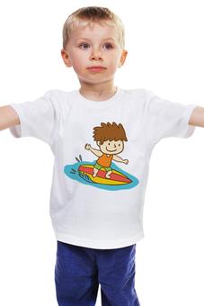 """Детская футболка """"Юный серфингист"""" - рисунок, мальчик, детский, спортивный, серфинг"""