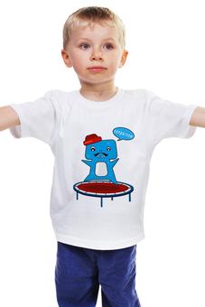 """Детская футболка классическая унисекс """"монстрик"""" - мультик, усы, монстрик, монстрик в шляпке, батут"""