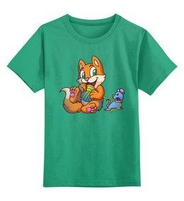 """Детская футболка классическая унисекс """"Котик с мышкой"""" - юмор"""