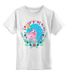"""Детская футболка классическая унисекс """"Милый мультяшный очаровательный единорог"""" - лошадь, красивый, сказка, иллюстрация, мульт"""