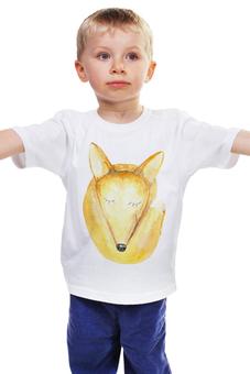 """Детская футболка классическая унисекс """"Спящий лис"""" - рыжий, мульт, лис, лиса"""