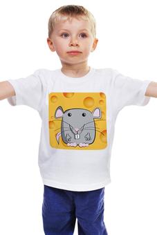"""Детская футболка """"Мышонок"""" - животные, мультфильм, сыр, детский рисунок, мышонок"""