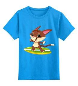 """Детская футболка классическая унисекс """"Счастливый котик"""" - сёрфинг, море, лето, кот, котёнок"""