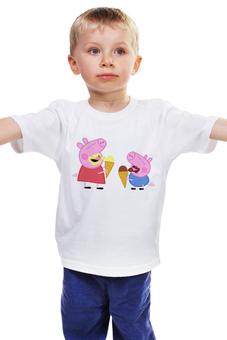 """Детская футболка классическая унисекс """"Свинка Пеппа"""" - свинка, мороженное, пеппа"""