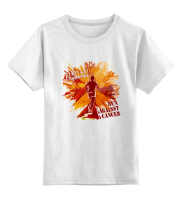 """Детская футболка классическая унисекс """"Run against cancer"""" - бег, спорт, фитнес, run, бегу"""