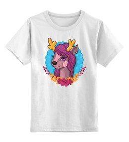 """Детская футболка классическая унисекс """"Милый мультяшный очаровательный олененок"""" - лошадь, красивый, сказка, иллюстрация, мульт"""