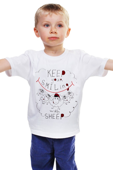"Детская футболка ""keep your smiling sheep"" - новый год, new year, год овцы, sheep, 2015"