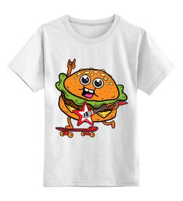 "Детская футболка классическая унисекс ""Гамбургер с гитарой"" - скейтборд, гамбургер, бургер, гитара"