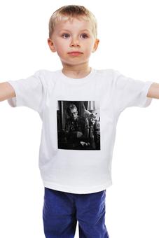 """Детская футболка классическая унисекс """"Джеймс Дин James Dean с котом"""" - кот, cat, легенда, джеймс дин, james dean"""