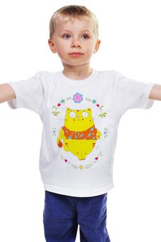 """Детская футболка """"Толстый котик"""" - арт, цветы, котик, милое, мимими"""