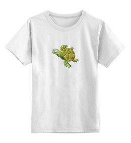 """Детская футболка классическая унисекс """"Морская зеленая черепашка"""" - футболка для мальчика, футболка для девочки, черепаха"""