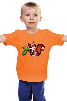 """Детская футболка классическая унисекс """"Белка с орешками """" - белочка"""