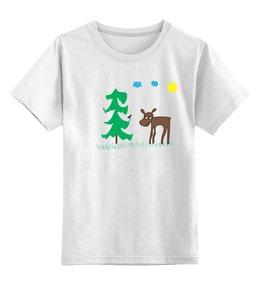 """Детская футболка классическая унисекс """"лосёнок и птичка"""" - авторские майки, животные, рисунок, природа, лось"""