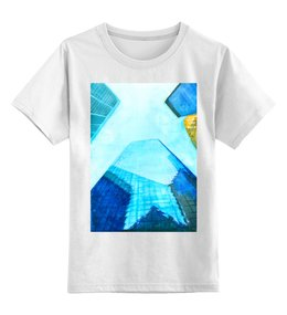 """Детская футболка классическая унисекс """"Небоскребы I"""" - город, нью йорк, небоскребы, небо, синий"""