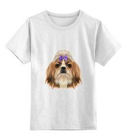 """Детская футболка классическая унисекс """"Йоркширский терьер"""" - рисунок, бантик, собаки, йорк"""