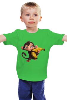 "Детская футболка ""Обезьянка"" - мультяшка, банан"