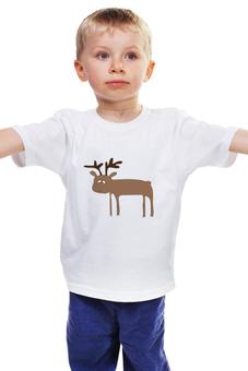 """Детская футболка классическая унисекс """"лосёнок"""" - юмор, авторские майки, животные, рисунок, лось"""