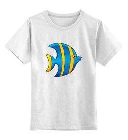 """Детская футболка классическая унисекс """"Желто-синяя морская рыбка"""" - рыбка, футболка для мальчика, футболка для девочки"""