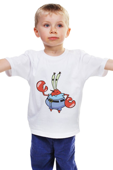 """Детская футболка классическая унисекс """"Мистер Юджин Крабс"""" - tshirt, мульт герой, futbolka, мистер юджин крабс, мистер крабс"""