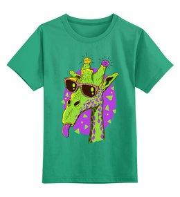 """Детская футболка классическая унисекс """"Забавный жираф"""" - очки, жираф, лампочка"""