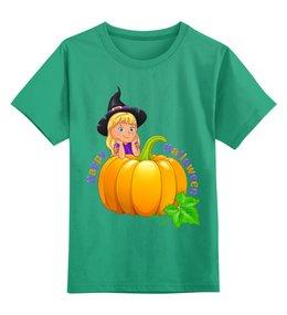 """Детская футболка классическая унисекс """"Хэллоуин"""" - ведьма, хэллоуин, тыква"""