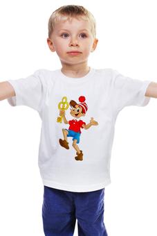 """Детская футболка классическая унисекс """"Буратино"""" - shirt, буратино, мульт персонаж, futbolka, burattino"""