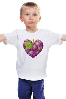 """Детская футболка """"ВИНОГРАДНАЯ ЛОЗА. ВИНОГРАД.СЕРДЦЕ. ФРУКТ."""" - еда, фрукты, виноград"""