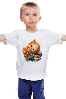 """Детская футболка классическая унисекс """"Киска и Ёжик"""" - ёжик, котик, киска, wax, ежекиска"""