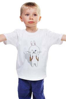 """Детская футболка классическая унисекс """"Первое сентября"""" - белый, заяц, кролик, зайчик, рюкзак"""