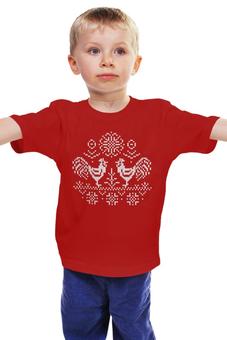 """Детская футболка """"Год петуха 2017"""" - россия, русь, blizzard, 2017, жаккардовые петухи"""