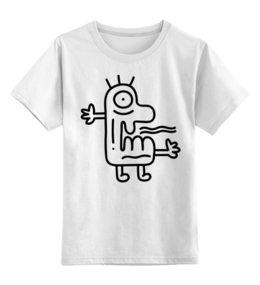 """Детская футболка классическая унисекс """"Strange Monster"""" - странный, doodle, смешной, монстр, чб"""