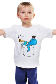 """Детская футболка классическая унисекс """"Осьминог в кармане."""" - музыка, осьминог, детское, музыкант, карман"""