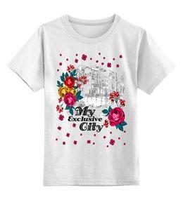 """Детская футболка классическая унисекс """"Город"""" - цветы, город"""