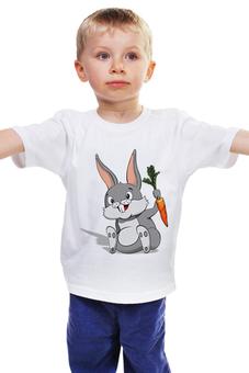 """Детская футболка классическая унисекс """"Зайчик"""" - заяц, кролик, зайчик, морковь, год кролика"""