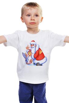 """Детская футболка """"ДЕД МОРОЗ И СНЕГУРОЧКА. С НОВЫМ ГОДОМ."""" - часы, с новым годом, дед мороз, снегурочка, санта клаус"""